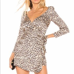 Majorelle Melrose Mini Wrap Dress Tan Leopard